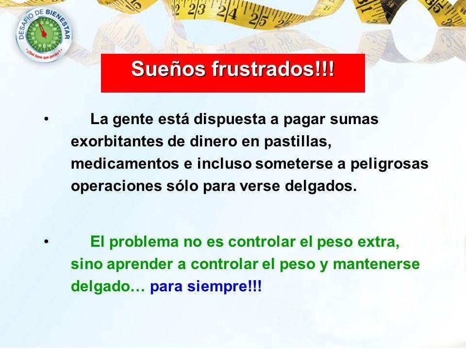 Sueños frustrados!!! La gente está dispuesta a pagar sumas exorbitantes de dinero en pastillas, medicamentos e incluso someterse a peligrosas operacio