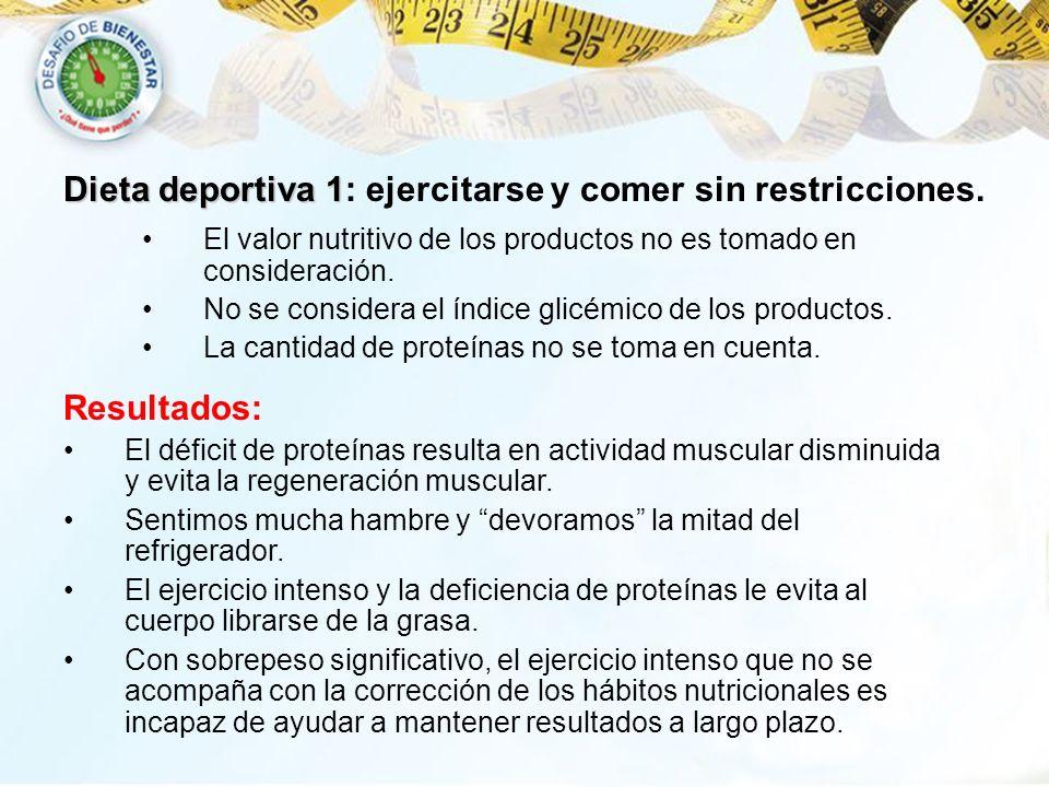 Dieta deportiva 1 Dieta deportiva 1: ejercitarse y comer sin restricciones. El valor nutritivo de los productos no es tomado en consideración. No se c
