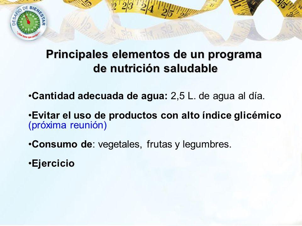 Cantidad adecuada de agua: 2,5 L. de agua al día. Evitar el uso de productos con alto índice glicémico (próxima reunión) Consumo de: vegetales, frutas