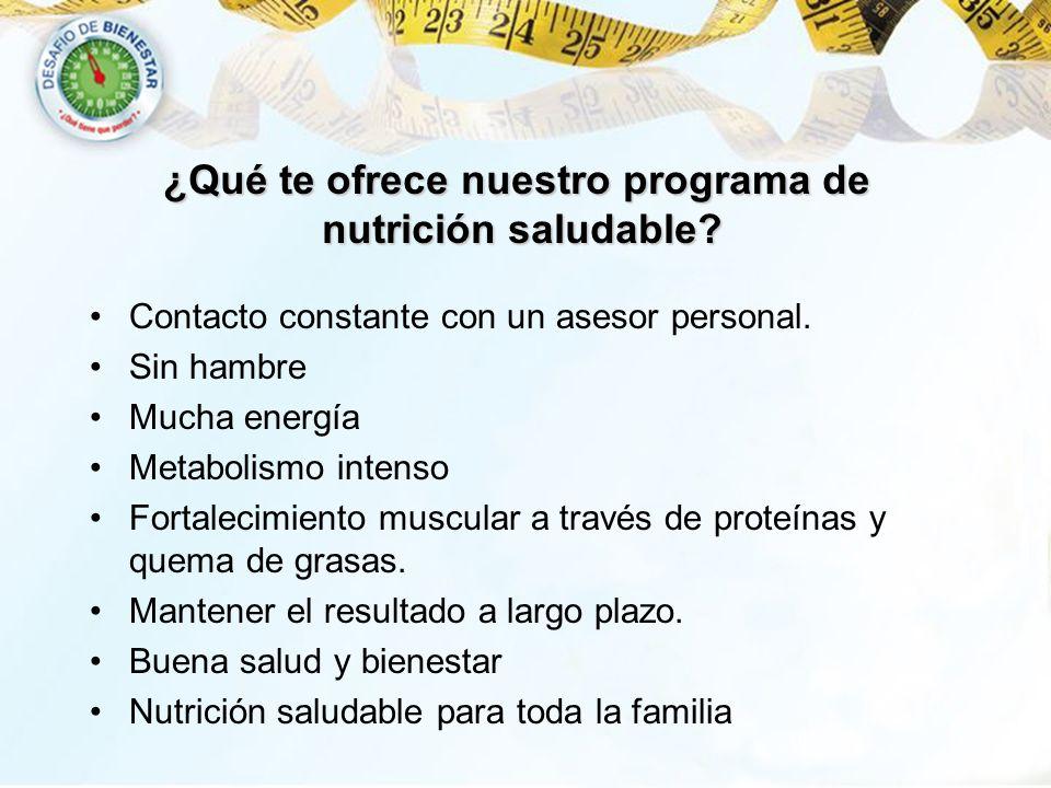 ¿Qué te ofrece nuestro programa de nutrición saludable? Contacto constante con un asesor personal. Sin hambre Mucha energía Metabolismo intenso Fortal