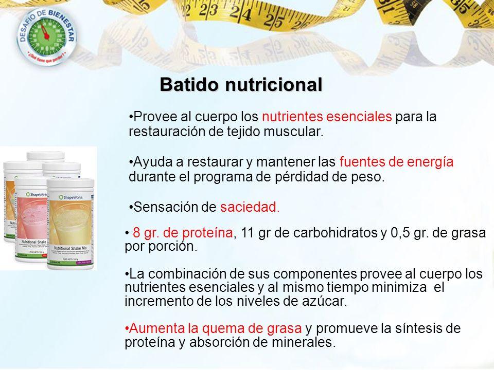 Batido nutricional Provee al cuerpo los nutrientes esenciales para la restauración de tejido muscular. Ayuda a restaurar y mantener las fuentes de ene