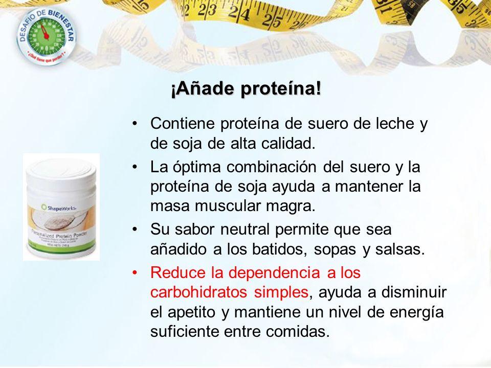 Contiene proteína de suero de leche y de soja de alta calidad. La óptima combinación del suero y la proteína de soja ayuda a mantener la masa muscular
