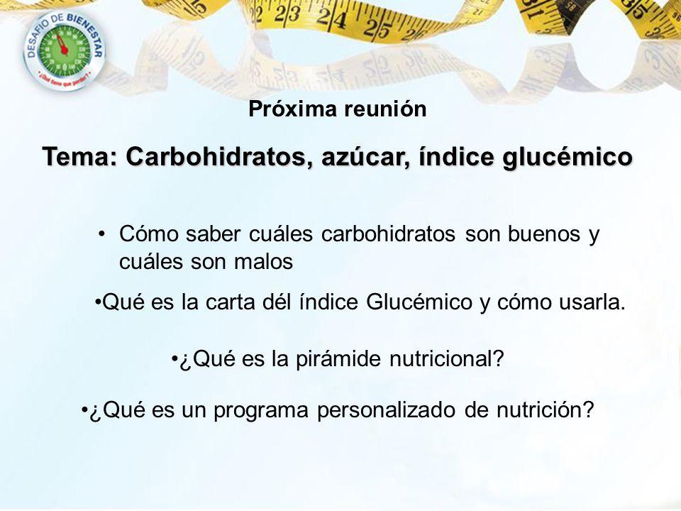 Tema: Carbohidratos, azúcar, índice glucémico Cómo saber cuáles carbohidratos son buenos y cuáles son malos Qué es la carta dél índice Glucémico y cóm