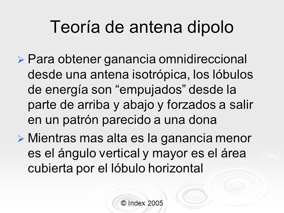 © Index 2005 Teoría de antena dipolo Para obtener ganancia omnidireccional desde una antena isotrópica, los lóbulos de energía son empujados desde la