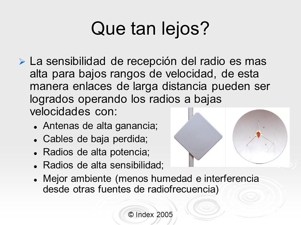 © Index 2005 Que tan lejos? La sensibilidad de recepción del radio es mas alta para bajos rangos de velocidad, de esta manera enlaces de larga distanc