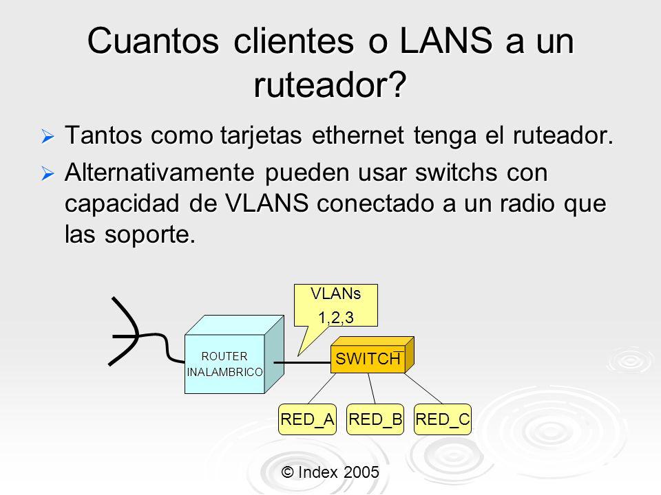 © Index 2005 Cuantos clientes o LANS a un ruteador? Tantos como tarjetas ethernet tenga el ruteador. Tantos como tarjetas ethernet tenga el ruteador.