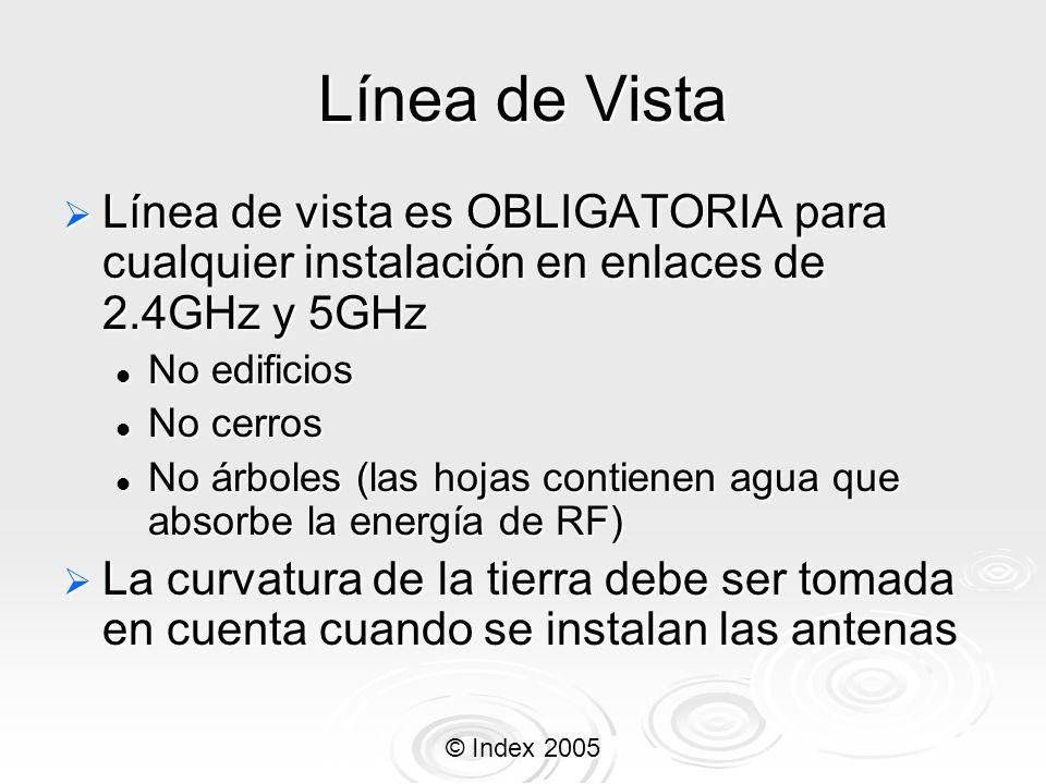 © Index 2005 Línea de Vista Línea de vista es OBLIGATORIA para cualquier instalación en enlaces de 2.4GHz y 5GHz Línea de vista es OBLIGATORIA para cu