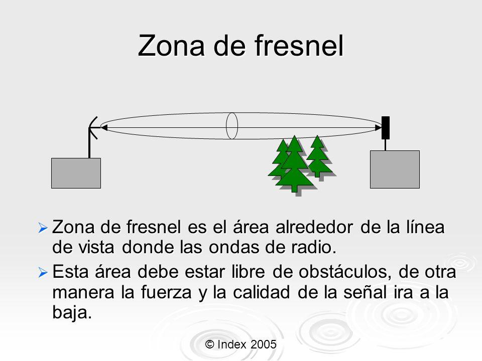 © Index 2005 Zona de fresnel Zona de fresnel es el área alrededor de la línea de vista donde las ondas de radio. Zona de fresnel es el área alrededor