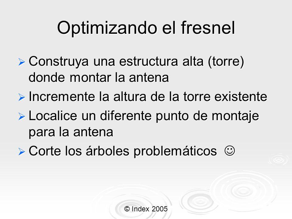 © Index 2005 Optimizando el fresnel Construya una estructura alta (torre) donde montar la antena Construya una estructura alta (torre) donde montar la
