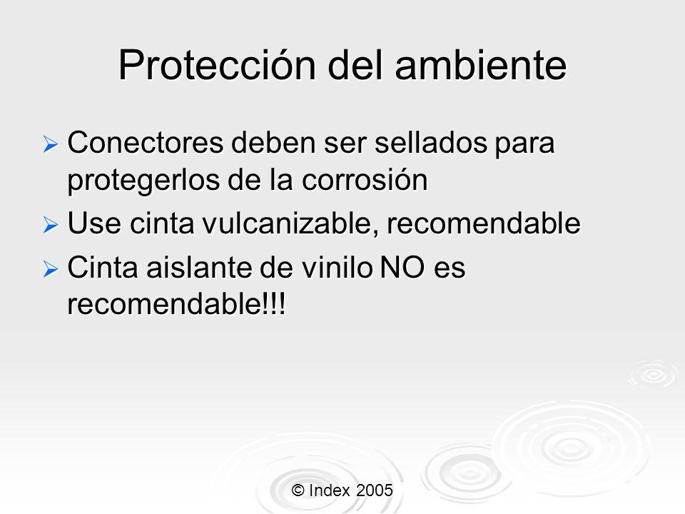 © Index 2005 Protección del ambiente Conectores deben ser sellados para protegerlos de la corrosión Conectores deben ser sellados para protegerlos de