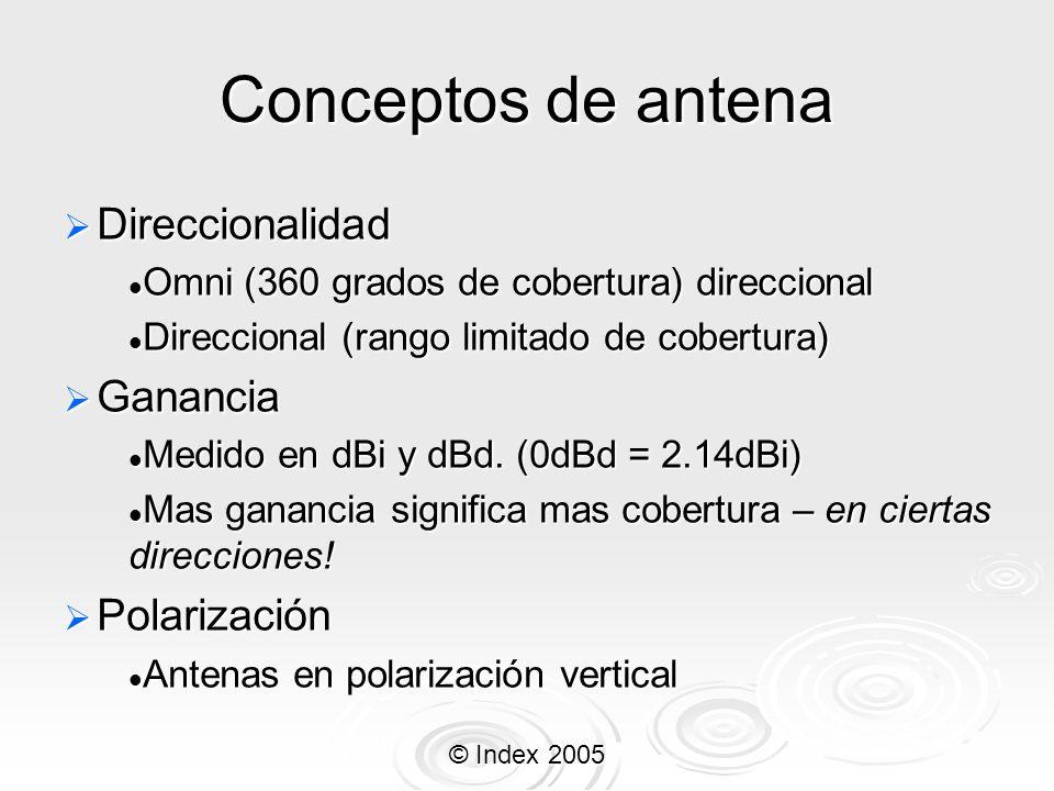 © Index 2005 Ganancia de antena En la vida nunca se obtiene algo por nada, lo mismo aplica en la ganancia de las antenas En la vida nunca se obtiene algo por nada, lo mismo aplica en la ganancia de las antenas Si la ganancia de una antena sube, el área de cobertura o ángulo, baja.