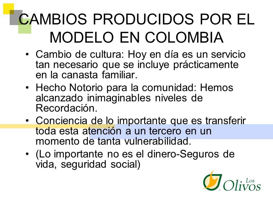 CAMBIOS PRODUCIDOS POR EL MODELO EN COLOMBIA Cambio de cultura: Hoy en día es un servicio tan necesario que se incluye prácticamente en la canasta fam
