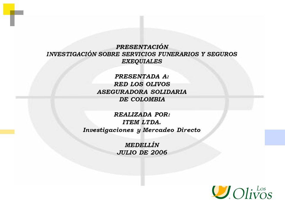 PRESENTACIÓN INVESTIGACIÓN SOBRE SERVICIOS FUNERARIOS Y SEGUROS EXEQUIALES PRESENTADA A: RED LOS OLIVOS ASEGURADORA SOLIDARIA DE COLOMBIA REALIZADA PO