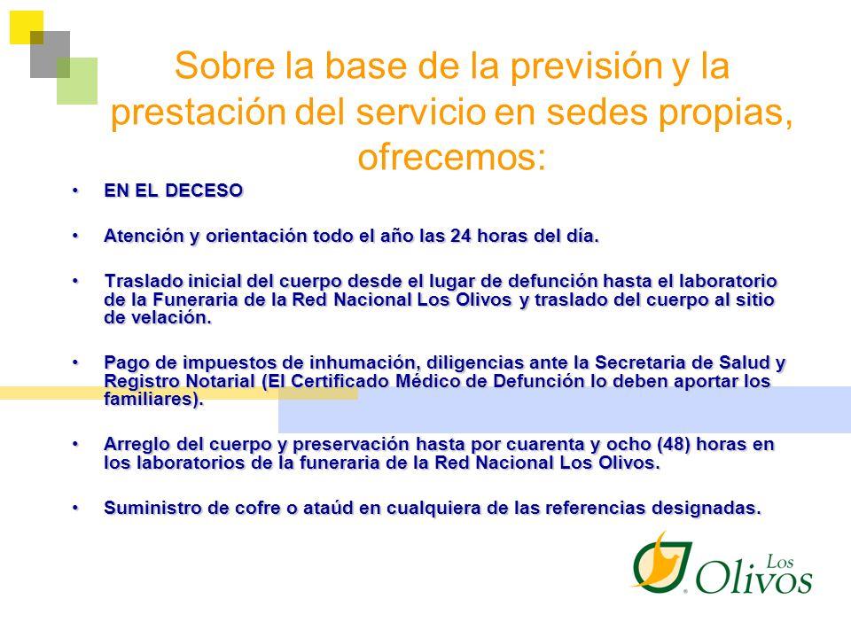 Sobre la base de la previsión y la prestación del servicio en sedes propias, ofrecemos: EN EL DECESOEN EL DECESO Atención y orientación todo el año la