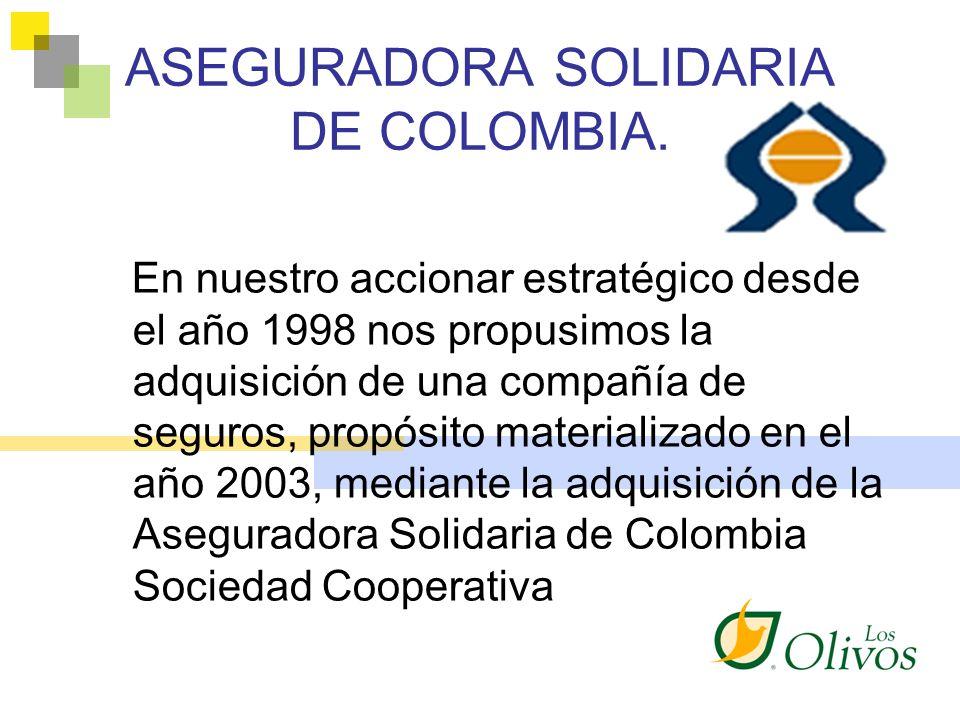 ASEGURADORA SOLIDARIA DE COLOMBIA. En nuestro accionar estratégico desde el año 1998 nos propusimos la adquisición de una compañía de seguros, propósi