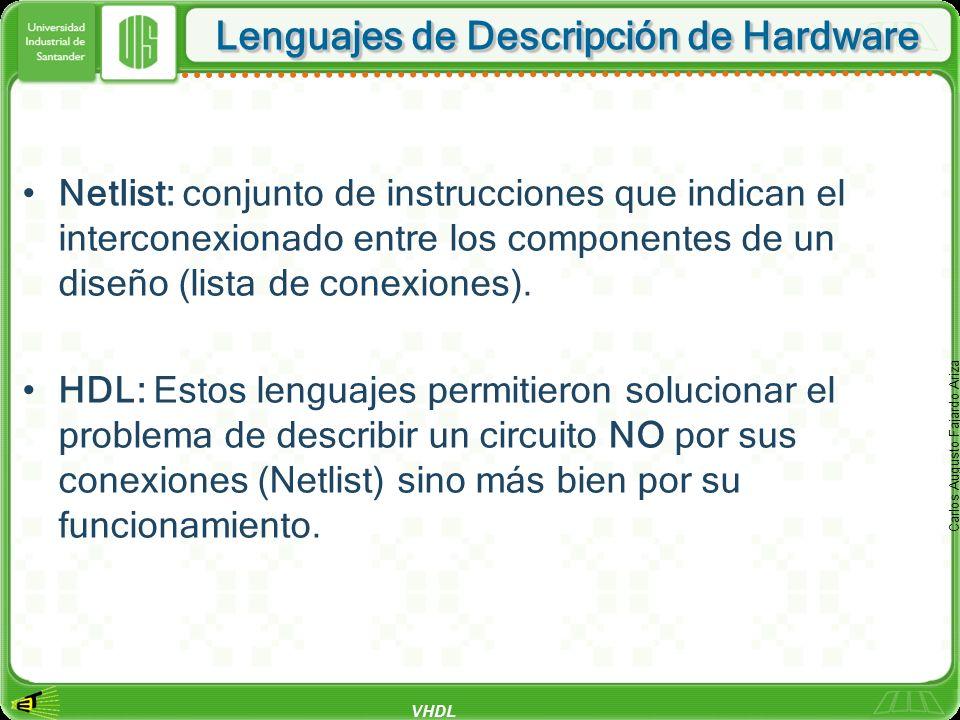 VHDL Carlos Augusto Fajardo Ariza Lenguajes de Descripción de Hardware Netlist: conjunto de instrucciones que indican el interconexionado entre los co