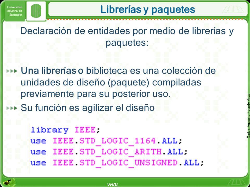VHDL Carlos Augusto Fajardo Ariza Librerías y paquetes Declaración de entidades por medio de librerías y paquetes: Una librerías o biblioteca es una c
