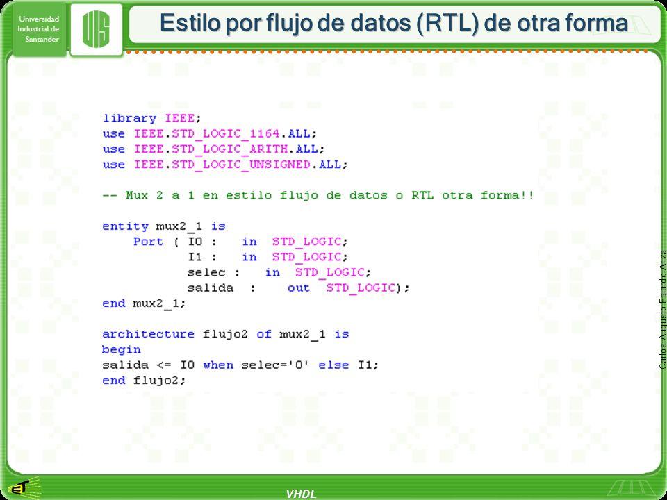 VHDL Carlos Augusto Fajardo Ariza Estilo por flujo de datos (RTL) de otra forma