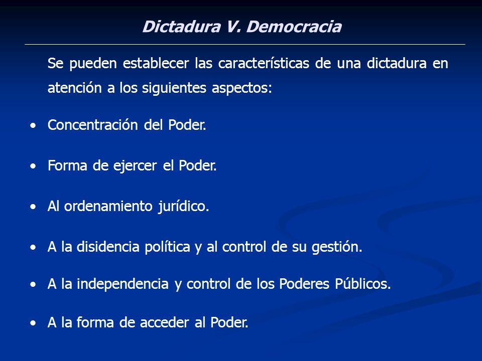 Dictadura V. Democracia Se pueden establecer las características de una dictadura en atención a los siguientes aspectos: Concentración del Poder. Form