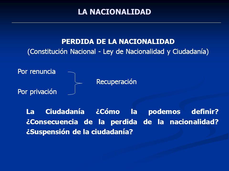 LA NACIONALIDAD PERDIDA DE LA NACIONALIDAD (Constitución Nacional - Ley de Nacionalidad y Ciudadanía) Por renuncia Recuperación Por privación La Ciuda