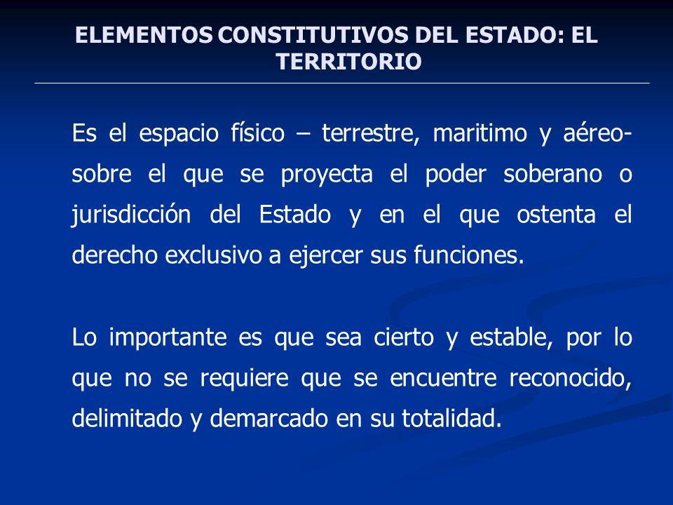 ELEMENTOS CONSTITUTIVOS DEL ESTADO: EL TERRITORIO Es el espacio físico – terrestre, maritimo y aéreo- sobre el que se proyecta el poder soberano o jur