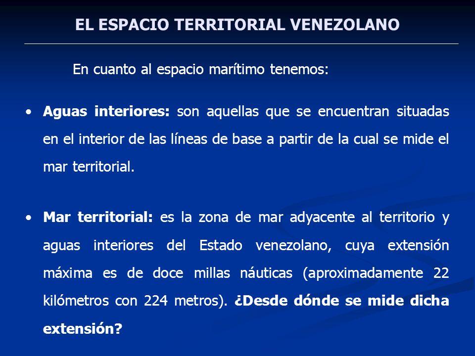 EL ESPACIO TERRITORIAL VENEZOLANO En cuanto al espacio marítimo tenemos: Aguas interiores: son aquellas que se encuentran situadas en el interior de l