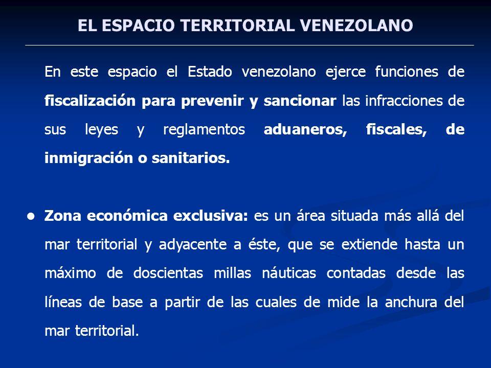 EL ESPACIO TERRITORIAL VENEZOLANO En este espacio el Estado venezolano ejerce funciones de fiscalización para prevenir y sancionar las infracciones de