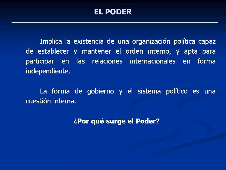 EL PODER Implica la existencia de una organización política capaz de establecer y mantener el orden interno, y apta para participar en las relaciones