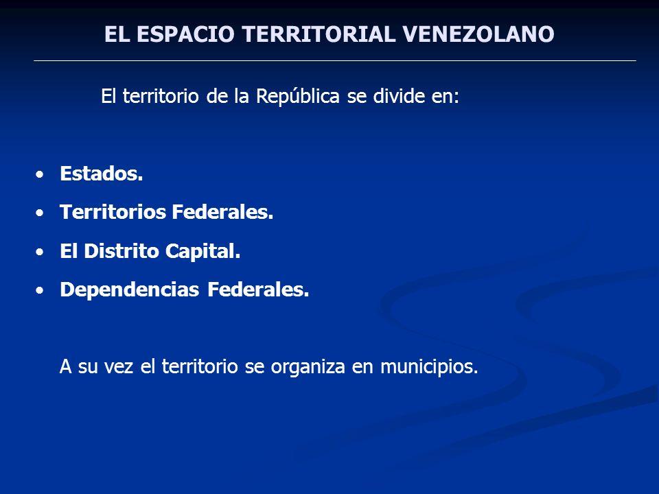 EL ESPACIO TERRITORIAL VENEZOLANO El territorio de la República se divide en: Estados. Territorios Federales. El Distrito Capital. Dependencias Federa
