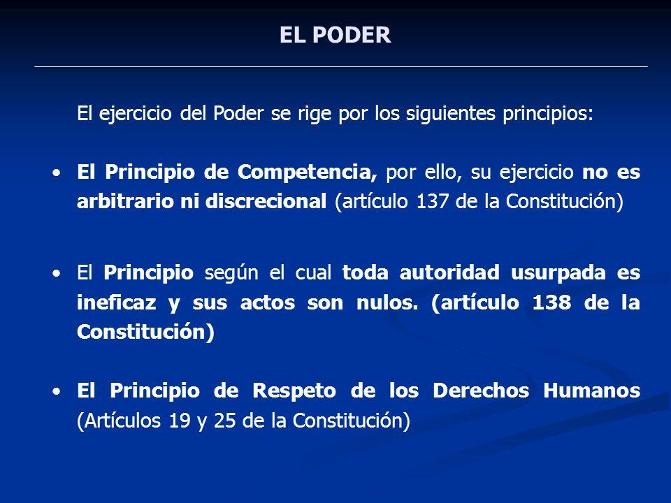 EL PODER El ejercicio del Poder se rige por los siguientes principios: El Principio de Competencia, por ello, su ejercicio no es arbitrario ni discrec
