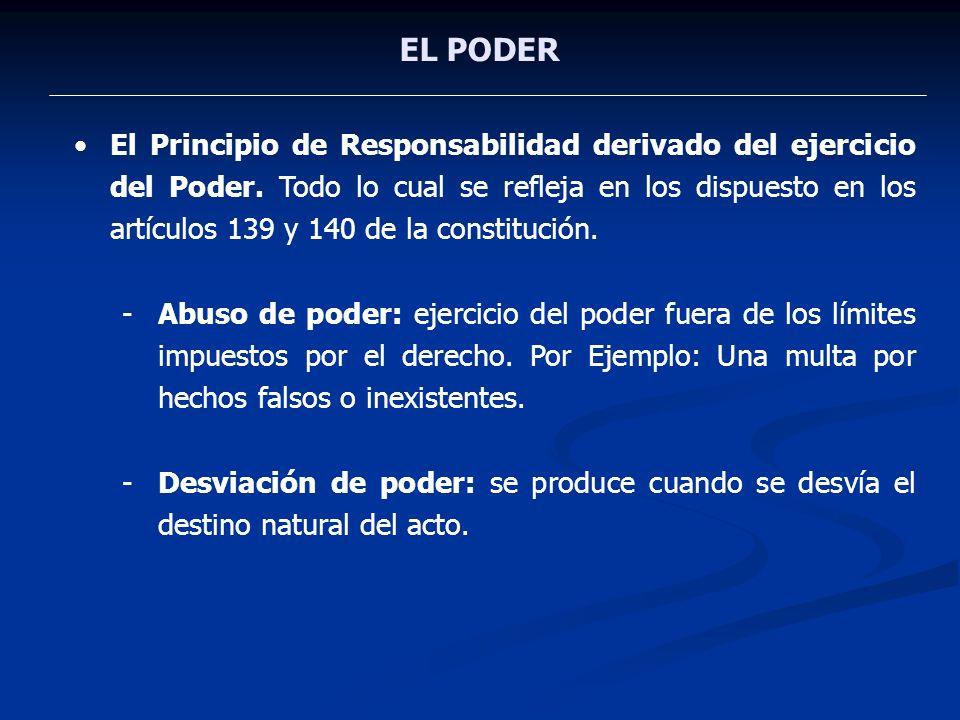 EL PODER El Principio de Responsabilidad derivado del ejercicio del Poder. Todo lo cual se refleja en los dispuesto en los artículos 139 y 140 de la c