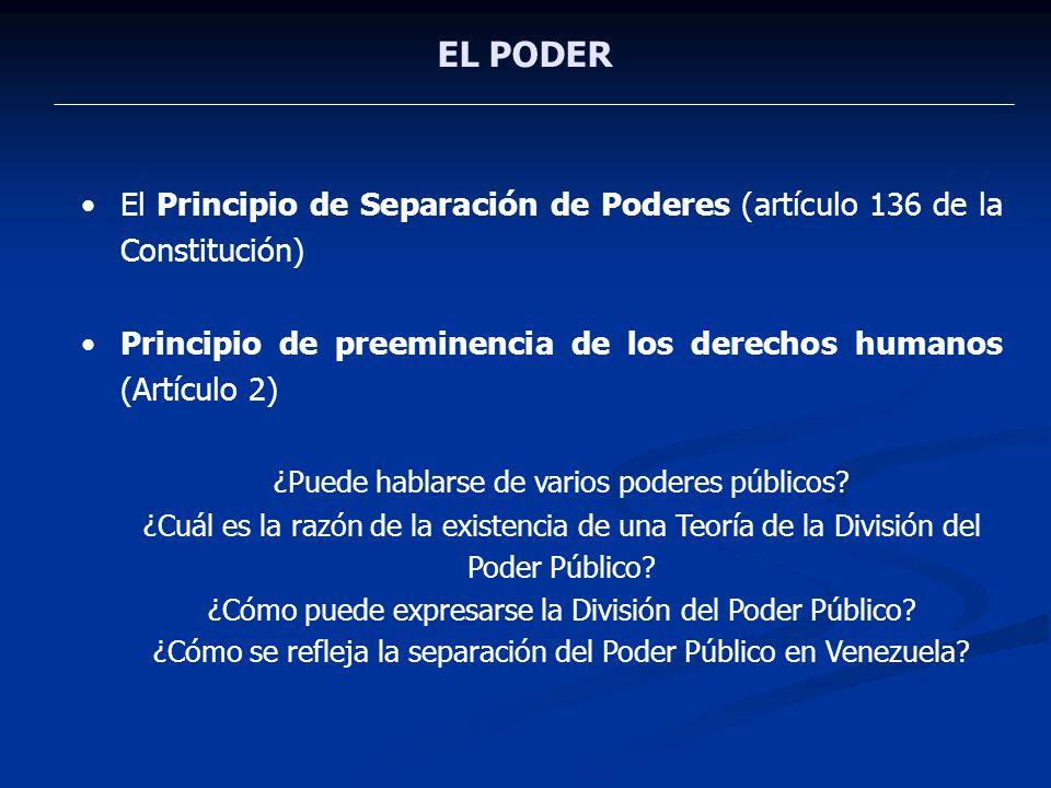 EL PODER El Principio de Separación de Poderes (artículo 136 de la Constitución) Principio de preeminencia de los derechos humanos (Artículo 2) ¿Puede