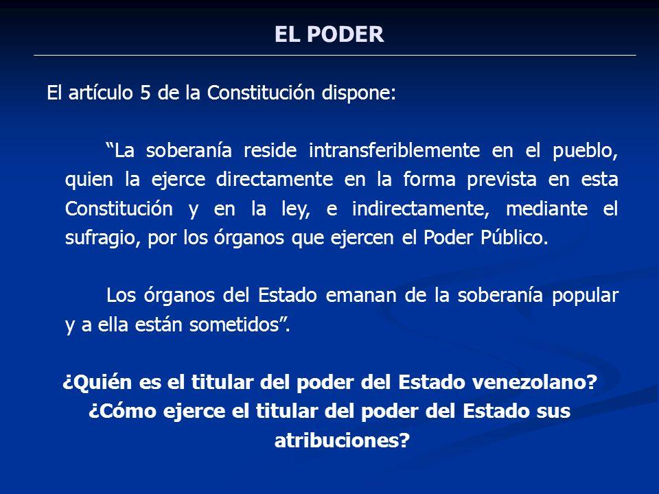 EL PODER Consecuencia del artículo 5 constitucional es el hecho de que el Estado venezolano se proclame como democrático, ya que la democracia etimológicamente significa gobierno del pueblo.
