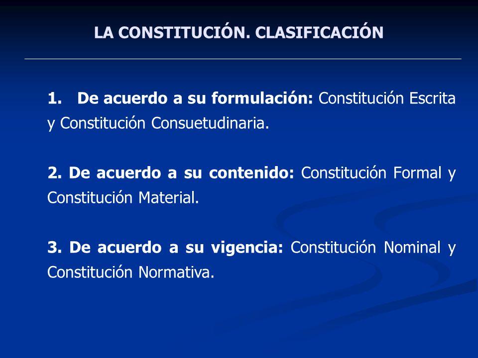 LA CONSTITUCIÓN. CLASIFICACIÓN 1.De acuerdo a su formulación: Constitución Escrita y Constitución Consuetudinaria. 2. De acuerdo a su contenido: Const