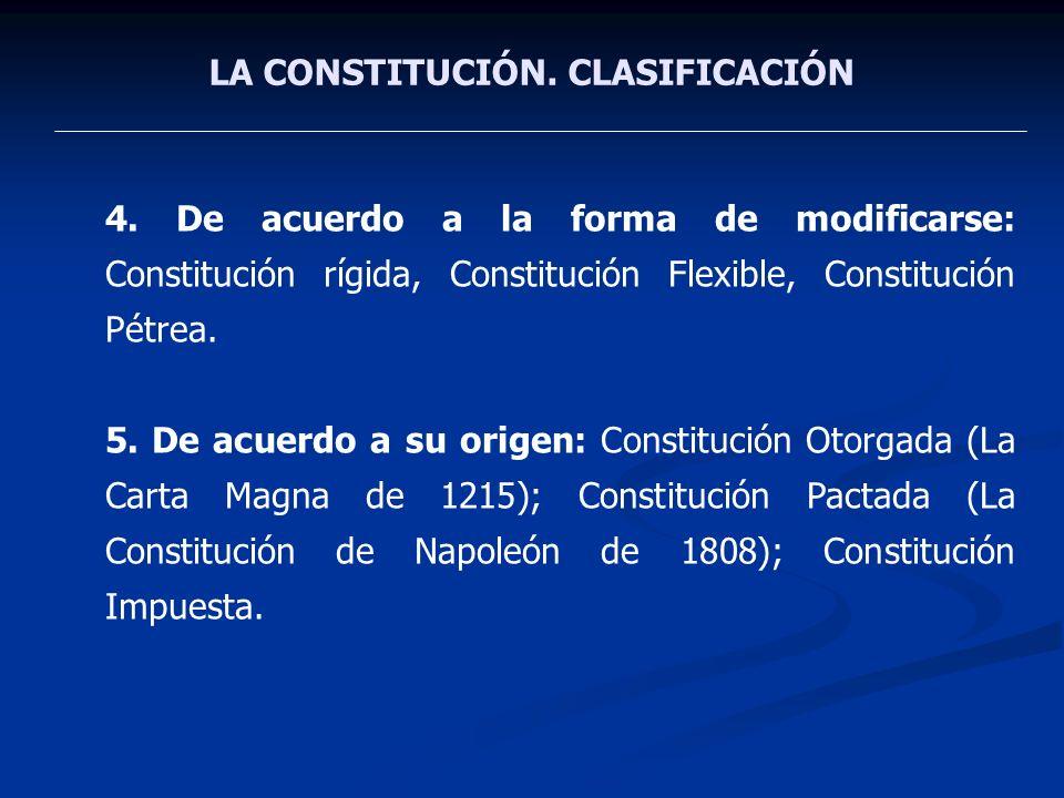 LA CONSTITUCIÓN. CLASIFICACIÓN 4. De acuerdo a la forma de modificarse: Constitución rígida, Constitución Flexible, Constitución Pétrea. 5. De acuerdo