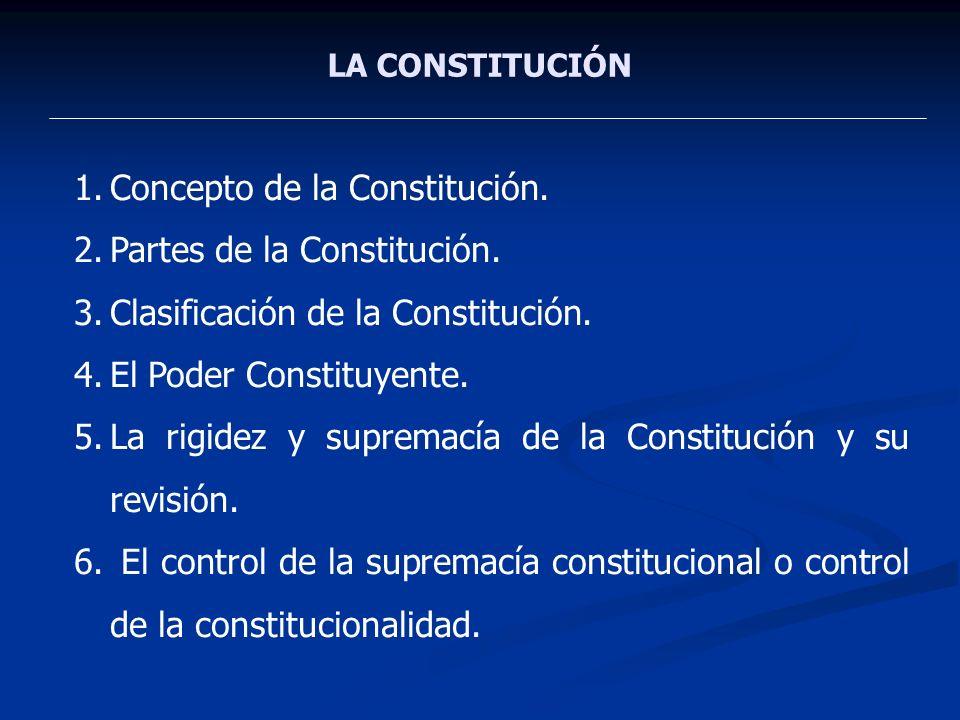 LA CONSTITUCIÓN 1.Concepto de la Constitución. 2.Partes de la Constitución. 3.Clasificación de la Constitución. 4.El Poder Constituyente. 5.La rigidez