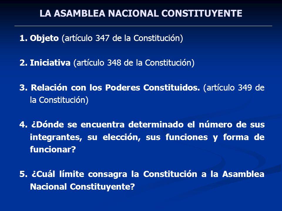 LA ASAMBLEA NACIONAL CONSTITUYENTE 1.Objeto (artículo 347 de la Constitución) 2.Iniciativa (artículo 348 de la Constitución) 3. Relación con los Poder