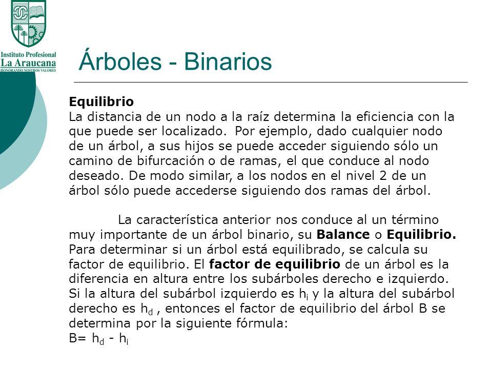 Árboles - Binarios Equilibrio La distancia de un nodo a la raíz determina la eficiencia con la que puede ser localizado. Por ejemplo, dado cualquier n