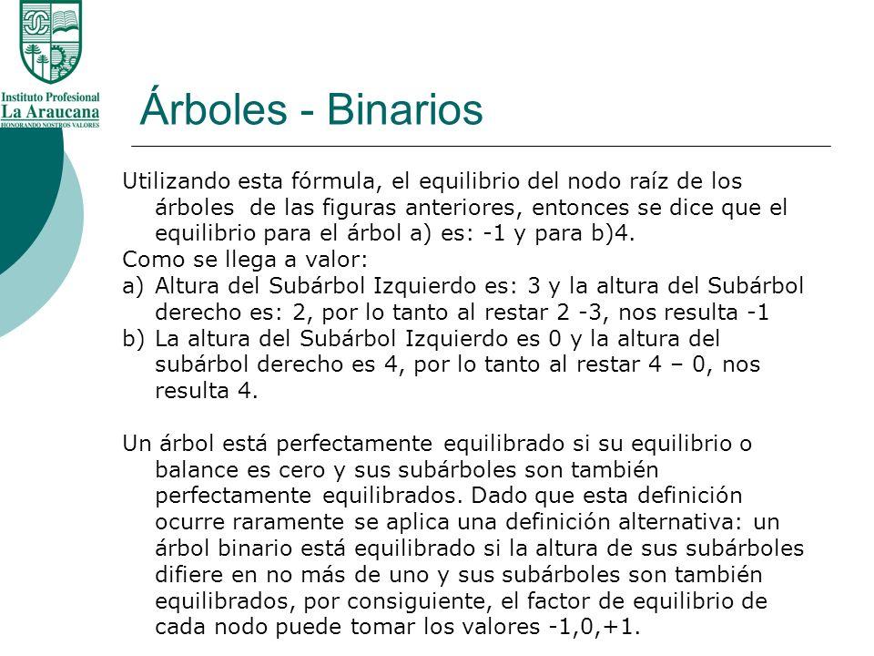 Árboles - Binarios Utilizando esta fórmula, el equilibrio del nodo raíz de los árboles de las figuras anteriores, entonces se dice que el equilibrio p