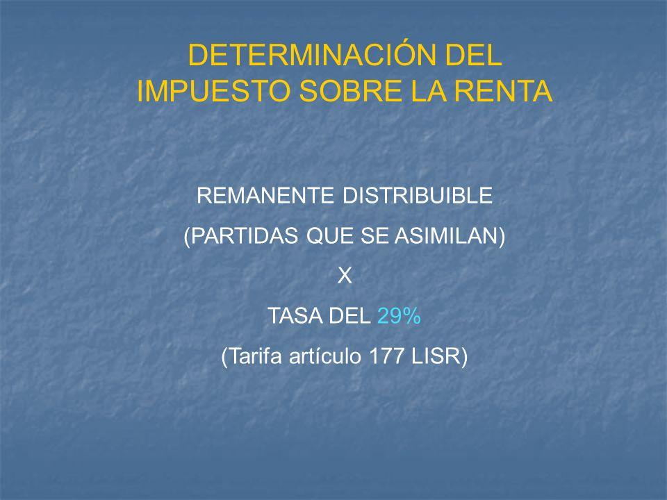 DETERMINACIÓN DEL IMPUESTO SOBRE LA RENTA REMANENTE DISTRIBUIBLE (PARTIDAS QUE SE ASIMILAN) X TASA DEL 29% (Tarifa artículo 177 LISR)