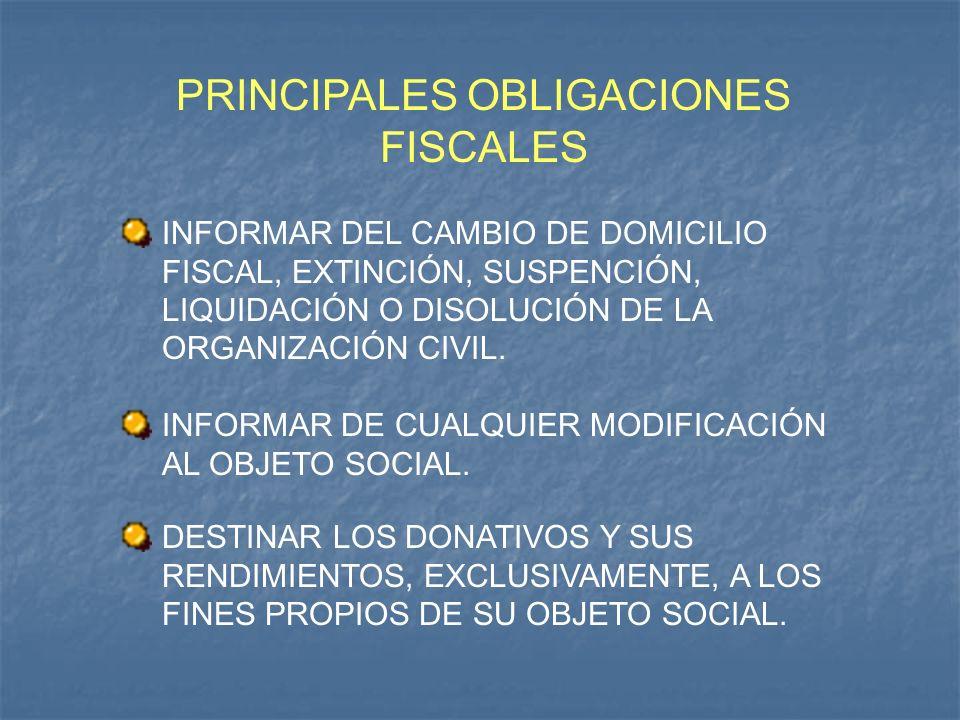 PRINCIPALES OBLIGACIONES FISCALES INFORMAR DEL CAMBIO DE DOMICILIO FISCAL, EXTINCIÓN, SUSPENCIÓN, LIQUIDACIÓN O DISOLUCIÓN DE LA ORGANIZACIÓN CIVIL. I