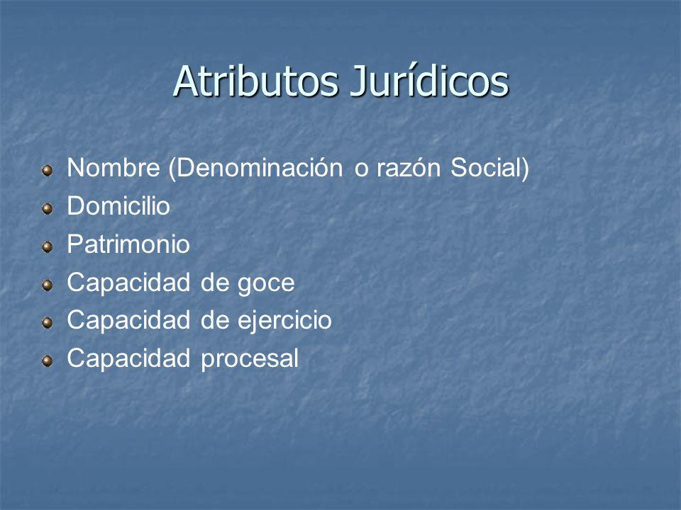 Atributos Jurídicos Nombre (Denominación o razón Social) Domicilio Patrimonio Capacidad de goce Capacidad de ejercicio Capacidad procesal