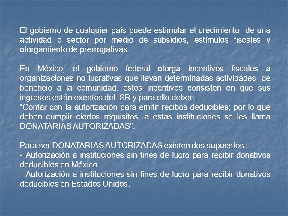El gobierno de cualquier país puede estimular el crecimiento de una actividad o sector por medio de subsidios, estímulos fiscales y otorgamiento de pr
