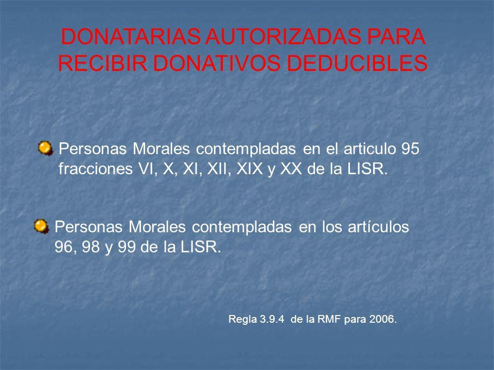 DONATARIAS AUTORIZADAS PARA RECIBIR DONATIVOS DEDUCIBLES Personas Morales contempladas en el articulo 95 fracciones VI, X, XI, XII, XIX y XX de la LIS