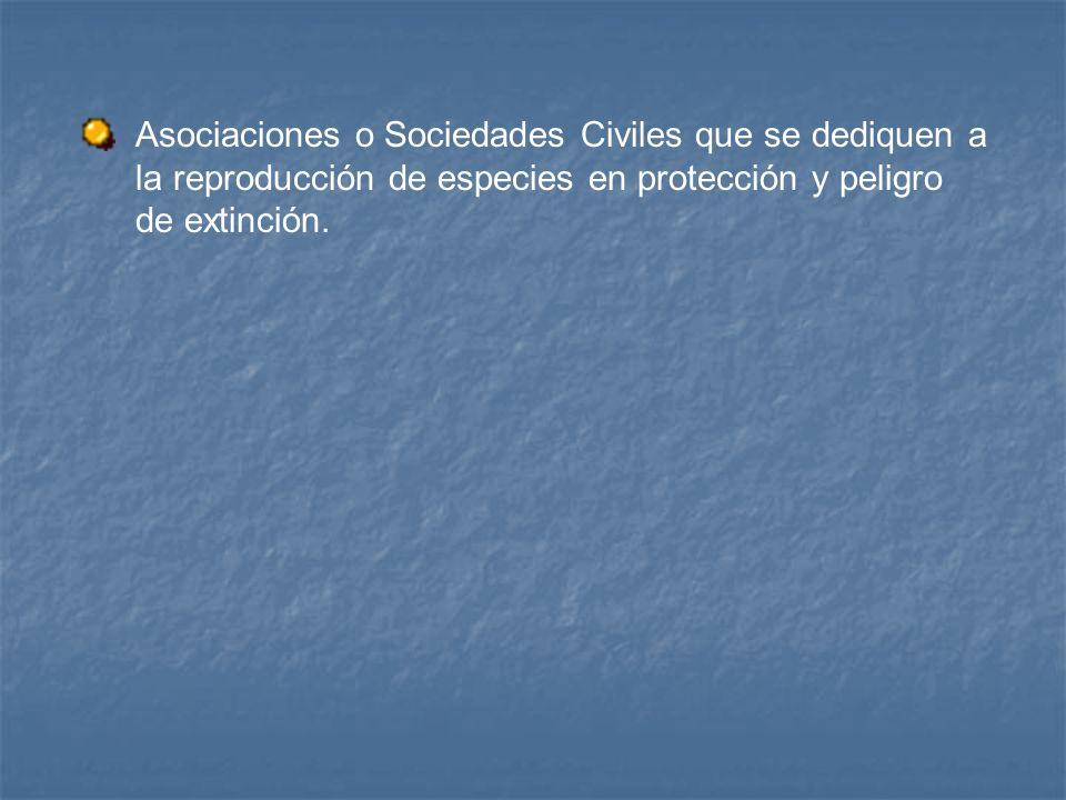 Asociaciones o Sociedades Civiles que se dediquen a la reproducción de especies en protección y peligro de extinción.