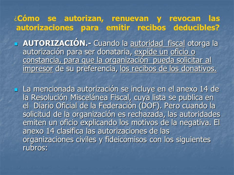 ¿ Cómo se autorizan, renuevan y revocan las autorizaciones para emitir recibos deducibles? AUTORIZACIÓN.- Cuando la autoridad fiscal otorga la autoriz