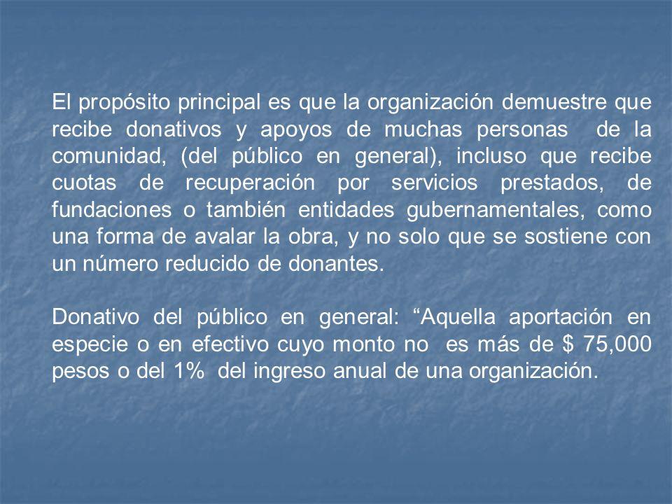 El propósito principal es que la organización demuestre que recibe donativos y apoyos de muchas personas de la comunidad, (del público en general), in