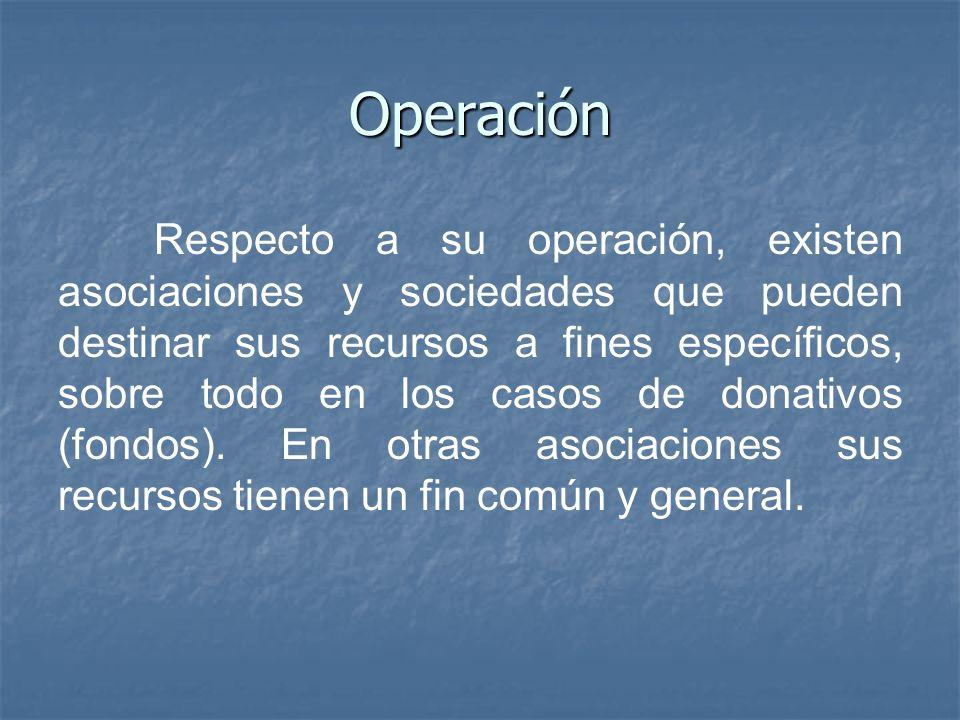 Operación Respecto a su operación, existen asociaciones y sociedades que pueden destinar sus recursos a fines específicos, sobre todo en los casos de