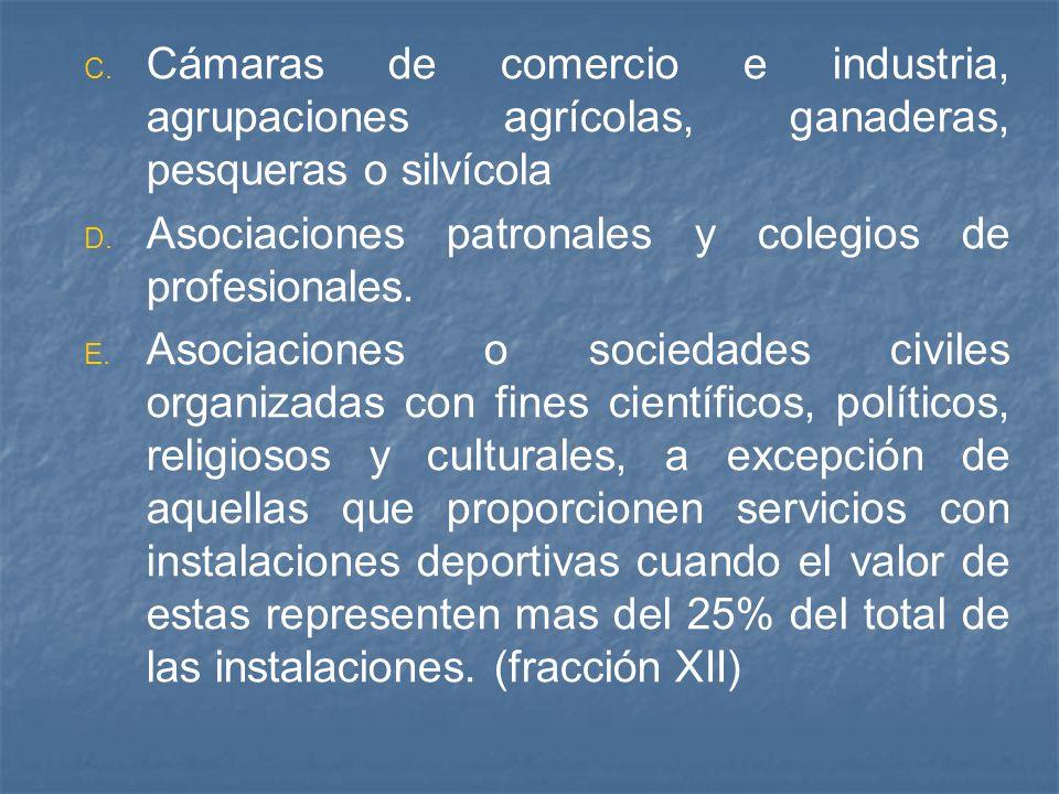 C. C. Cámaras de comercio e industria, agrupaciones agrícolas, ganaderas, pesqueras o silvícola D. D. Asociaciones patronales y colegios de profesiona