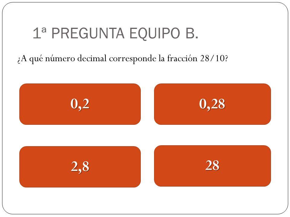 1ª PREGUNTA EQUIPO B. ¿A qué número decimal corresponde la fracción 28/10? 0,2 2,8 0,28 28